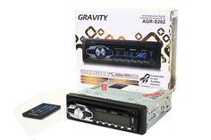 GRAVITY AGR-S202 Car Entertainment System CD-Receiver Built-in SD/USB/Front Aux Mp3 Disc Playable. Remote Included - Can be connected to any Auxiliary Devices. Compatible: Iphone, Ipod, Ipad, Android Smartphone, Tablet, Any Phone With 3.5mm. Car CD/MP3 Player/USB/SD - AM, FM, MPX Stereo Receiver With 6 Presets. Panel Function with Color Lighting - Preset EQ (Rock/POP/Classic), 300W Max Output. Blg Knob Volume Control. Electronic Anti-Shock.
