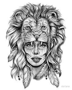 löwenkopf zeichnung, frau in komnination mit löwenkopf, tattoo vorlage, feder