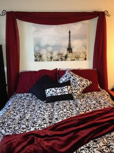 My future home decor idea - red, white, and black themed with damask prints
