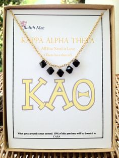 Kappa Alpha Theta Gold Chain Necklace with by JudithMaeDesigns, $