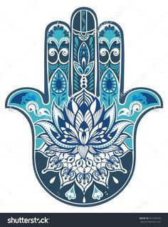 Vector Indian Hand Drawn Hamsa Symbol - 374146762 : Shutterstock: