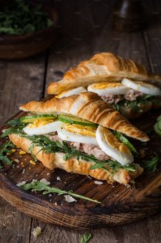 Croissant sandwiches by The baking man on Creative Market - Food photography - Sandwich Gourmet Sandwiches, Healthy Sandwiches, Delicious Sandwiches, Croissant Sandwich, Breakfast Menu, Breakfast Recipes, Morning Breakfast, Low Carb Sandwich, Bistro Food