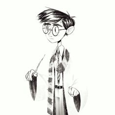 Long day, so here's a quick sketch of Harry. What's the spell for taking a nap?