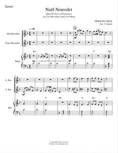 Noël Nouvelet for 2 Recorders and Lever Harp | Janet Lanier D Minor, Harp, Sheet Music, Noel, Music Sheets