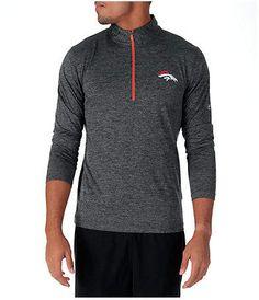3accf0ff Majestic Men's Denver Broncos NFL Intimidating Half-Zip Training Shirt,  Grey Nfl Buffalo Bills