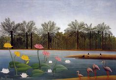 Henri Rousseau The Flamingos painting for sale - Henri Rousseau The Flamingos is handmade art reproduction; You can shop Henri Rousseau The Flamingos painting on canvas or frame. Scenery Paintings, Wildlife Paintings, Nature Paintings, Colorful Paintings, Oil Paintings, Henri Rousseau Paintings, Art Conceptual, Flamingo Painting, Art Français