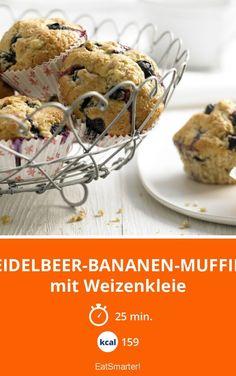 Heidelbeer-Bananen-Muffins - mit Weizenkleie - smarter - Kalorien: 159 Kcal - Zeit: 25 Min. | eatsmarter.de