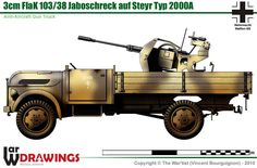 30 mm FlaK Anti-Aircraft Gun on Steyr Type Military Weapons, Military Art, Military History, Steyr, Army Vehicles, Armored Vehicles, Mercedez Benz, Afrika Korps, Tank Design