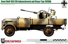 30 mm FlaK Anti-Aircraft Gun on Steyr Type Steyr, Army Vehicles, Armored Vehicles, Mercedez Benz, Afrika Korps, Tank Design, World Of Tanks, Military Photos, Lifted Ford Trucks