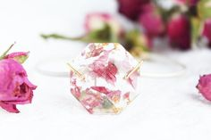resin bracelet - red petals with gold flakes - leather bracelet - nature ispired jewelry - botanical bracelet - Mother's Day gift