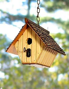 115C - Salvage butter yellow bead board hanging wren nesting box with antique skeleton key perch recycledbirdhouse.com