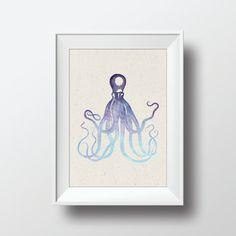 Watercolor Octopus Vintage Illustration Printable by VNBDesigns