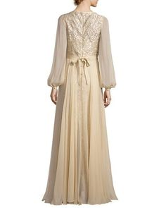 Rickie Freeman for Teri Jon Long-Sleeve Embroidered Tulle & Silk Chiffon Gown, Champagne Wedding Dress Chiffon, Chiffon Gown, Wedding Dress Sleeves, Elegant Wedding Dress, Elegant Dresses, Wedding Dresses, Trendy Wedding, Simple Homecoming Dresses, Long Bridesmaid Dresses