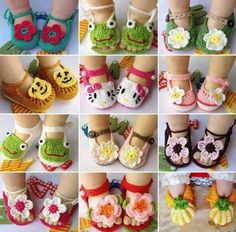 Here is a link with a tutorial on how to crochet baby sandals:DIY Project: How to Crochet Baby Sandals
