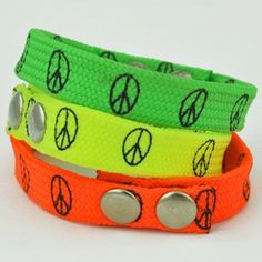 This brightly colored bracelet is a fun addition to any hippie wardrobe. Let your friends know you're serious about your love for peace by proudly wearing our neon snap bracelet! These bracelets have an adjustable snap closure and look great layered with other colorful bracelets!  $2.00