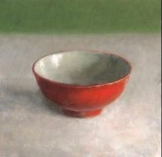 Study with chinese bowl, red, painting by artist Jos van Riswick