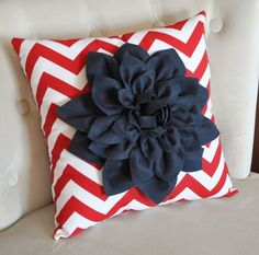 Navy Blue Dahlia on Red and White Zigzag Pillow -Chevron Pillow-  Red White and Blue. $35.00, via Etsy.