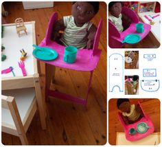 I made this cardboard doll high chair for my little daughter... she loved it.... easy to make ... all you need is ; cardboard (a thick one), hot glue and tape... https://www.facebook.com/CalypsoAndMyrsinisDreamWorld?ref_type=bookmark https://www.etsy.com/shop/calypsoandmyrsini?ref=si_shop