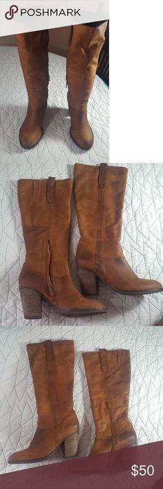 "Steve Madden Raingerr Boots Size 9. Heel 3 1/2 . Boor shaft 14"". Side partial zip. Dark Cuoio Steve Madden Shoes Heeled Boots"
