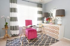 Chic Home Office - grey, white, hot pink and gold