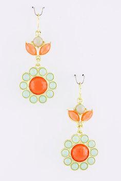 Orange, Mint, and Gray Jewel Earrings - Kate Spade Inspired