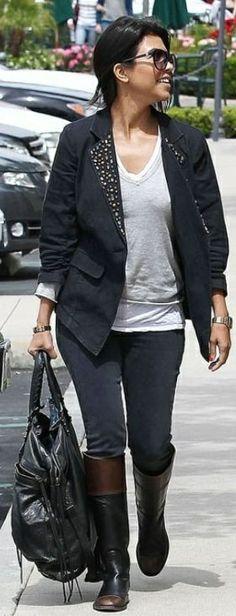 Who made Kourtney Kardashian's flat boots, blazer, shirt, black sunglasses and black handbag? Shoes – Chanel  purse and sunglasses – Balenciaga  Jacket – K-DASH for QVC  Jeans – J brand  Shirt – Monrow