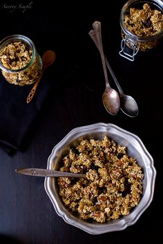 Quinoa Granola recipe. Gluten free, vegan, and with almonds, hemp seeds, coconut flakes, pecans, maple syrup, vanilla, dried cranberries, and more tasty  and wholesome ingredients.