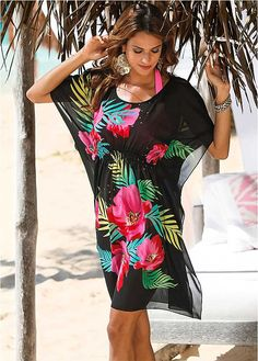 Black Printed Beach Cover-Up by bpc selection Swimsuit With Shorts, Swimsuit Cover Ups, Fuchsia, Pink, Day Date Outfits, Belle Silhouette, Mode Glamour, Bohemian Mode, Boho Fashion
