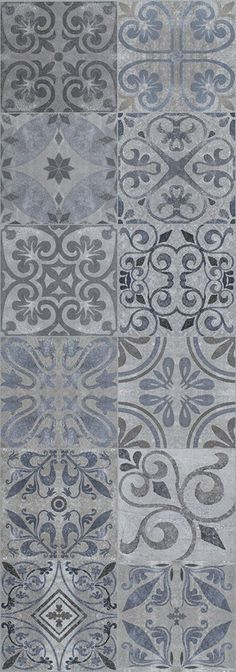 I love this patterned tile floor for entries, kitchens and bathrooms. It's soft enough you'll never get tired of it. Mosaic Tiles, Wall Tiles, Tiling, Porcelanosa Tiles, Small Toilet Room, Tiled Hallway, Brick And Stone, Tile Patterns, Tile Design
