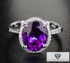 Oval Cut Amethyst Diamond Halo Pave Engagement Ring or Cocktail Ring