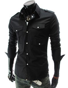 Like the black top. NWT+Mens+Casual+Fashion+Stylish+Slim+fit+Long+Sleeve+Solid+Color+Dress+Shirt