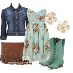Adorable jean jacket, colorful blouse, leather handbag and long boots for fall