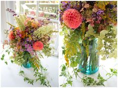 Center Piece idea, with wrapped mason jars (small & large) using the fall neutral flowers