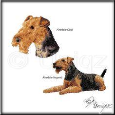 Fotorealistisch gestickte Airedale Terrier  (für Taschen, Fleecejacken, Decken, .....)