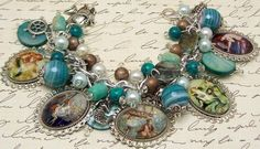 Vintage Mermaids Charm Bracelet Beaded Chunky Altered Art Picture Charms Beads Ocean Beach Sea.