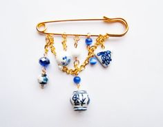 Blue and White Pottery Pin by alphabetsuitcase on Etsy, £12.00