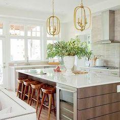 PNE Prize Home - kitchens - kitchen island wine cooler, wine cooler, island wine cooler, kitchen pendant, three light pendant, dark brown ve...