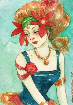 "Portrait Girl Carnival Circus Print ACEO ""The Fortune Teller"" by Amy Abshier Reyes 18/30"