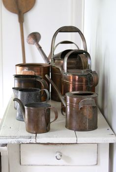 As a year round, die-hard gardener, I can't resist a vintage copper watering can. Any shape. Any size. I am not shy about owning more than one. Having an assortment allows me the ability to keep reading