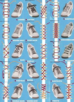 Who would have thought there were so many ways to lace up shoes? How to tie shoe laces! Who would have thought there were so many ways to lace up shoes? How to tie shoe laces! Diy Fashion, Mens Fashion, Fashion Tips, Fashion Hacks, Fashion Beauty, Fashion Dresses, Ways To Lace Shoes, The Knot, Diy Vetement