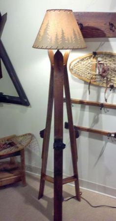 Wooden Ski Floor Lamp