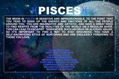 Moon in Pisces personality. Moon Sign Astrology, Astrology Meaning, Pisces Sign, Astrology Zodiac, Pisces Horoscope, Sagittarius, Aquarius, Pisces Lover, Pisces Woman