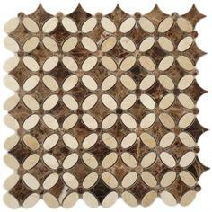 Crema Marfil & Emperador Dark FS-76 Brown Flower Stone Polished Tile