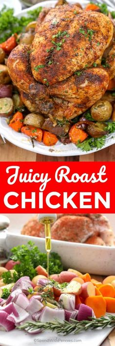 Roast Chicken & Vegetables – Spend With Pennies This juicy whole roast chicken is the easiest oven baked chicken recipe ever. We love making this recipe all year around! Roast Chicken Recipes, Healthy Chicken Recipes, Veggie Recipes, Lunch Recipes, Dinner Recipes, Cooking Recipes, Roasted Vegetables With Chicken, Whole Roasted Chicken, Easy Oven Baked Chicken