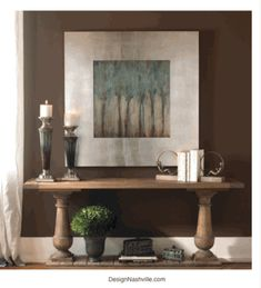 aqua and brown transitional decorating.  rustic elegance. art, rustic table. DesignNashville shipping world wide