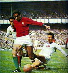 Portugal 5 North Korea 3 in 1966 at Goodison Park. Jose Torres takes on the Korean defence in the World Cup Quarter Final.