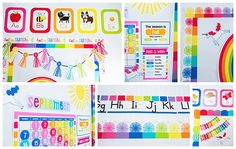 Hello Sunshine - SchoolgirlStyle www.schoolgirlstyle.com  rainbow classroom decor, unicorn classroom theme, classroom organization, teacher desk, bulletin boards, rainbow decor, birthday set Classroom Crafts, Classroom Design, Classroom Themes, Classroom Organization, Classroom Hacks, Classroom Layout, First Grade Classroom, Future Classroom, Kindergarten Classroom