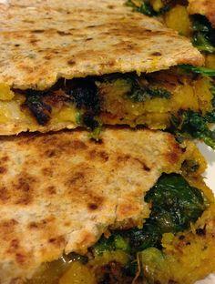 butternut squash + kale quesadillas