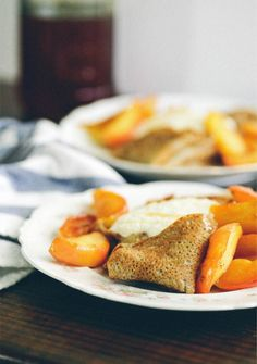 Buckwheat Crepes with Honeyed Ricotta and Sautéed Apples