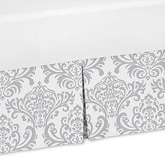 Sweet Jojo Designs Damask Print Crib Skirt in Grey/White